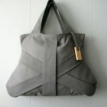 GREY THREE STRAP  / grey purse / grey tote bag / grey fashion bag / chic bag / medium grey handbag