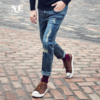 Winter Ripped Holes Slim Jeans Weathered England Style Pants Skinny Pants [7951229123]
