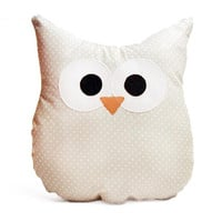 Owl Pillow - Gray Polka Dot - Small - Ready To Ship!