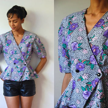Vtg Peplum Floral Mix Print SS Cotton Blouse