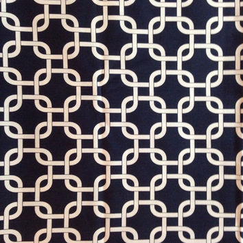 Decorative-Accent Body Pillow Cover - Approx 20 X 54 inch White on Navy Geometric Chain-Free Domestic Shipping