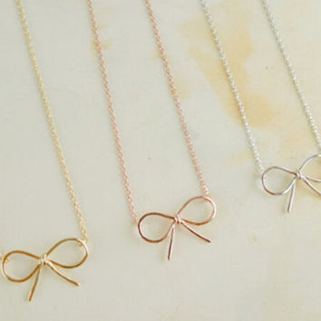 Gold Vintage Bow Necklace, Silver Vintage Bow Necklace, Minimalist Bow Necklace, Minimalist Boho Bow Necklace, Hipster Bow Necklace