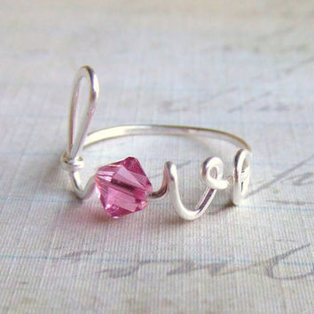 Swarovski Crystal Personalized Love Ring Any Size Wire Word Ring Mothers Gift Bridesmaids Gift Friendship Ring October Gifts Under 15