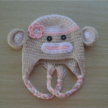 Crochet Tan and Light Pink Sock Monkey Baby Beanie/ Hat With Flower