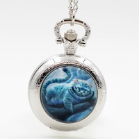 Alice in Wonderland Cheshire Cat Lovely Quartz Pocket Watch Pendant Necklace Mens Watch Womens Watch Boys Girls Gift