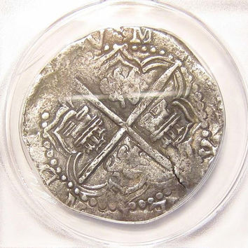 Antique 1613-1617 8 Reales P Q Silver Colonial COB Pirate Coinage Bolivia ANACS VF35