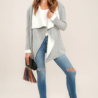 Love and Admiration Heather Grey Cardigan Sweater