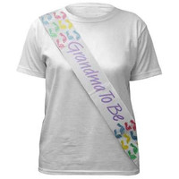 Darice 1405-GTB Grandma To Be Sash White with Purple Lettering & Pastel Accent