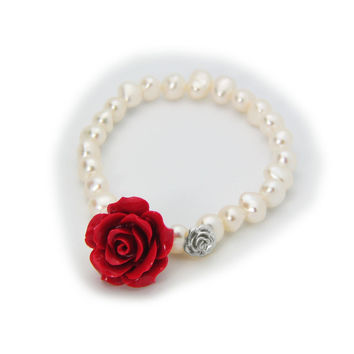 Fronay Luscious Red Ceramic Rose Fresh Water Pearl Stretch Bracelet for Women, Sterling Silver