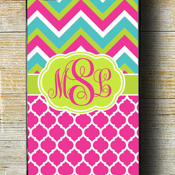 Bright Chevron iPhone 6 Case, Chevron iPhone 5s case, iPhone 5c moroccan, Pink iPhone 6 plus, Monogram iPhone 6 case