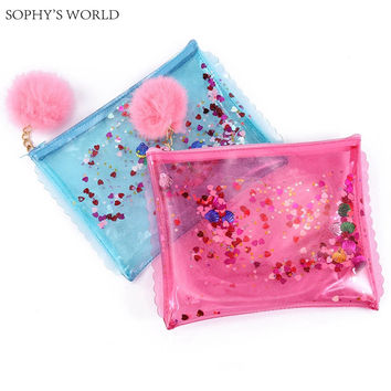 sequins women's bag 2017 transparent clutch handbag tassels envelope bag fashion women jelly bag pvc clear clutch evening purse