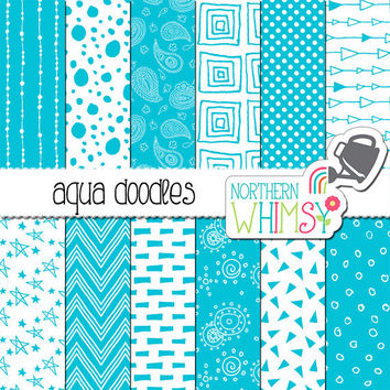 Aqua Blue Printable Paper – hand drawn seamless digital paper with polka dot, chevron & paisley patterns - scrapbook paper - commercial use