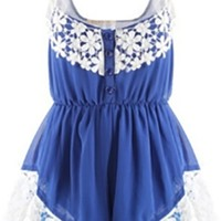 Blue Lace Sleeveless Blouson Button Front One Piece Jumpsuit Romper