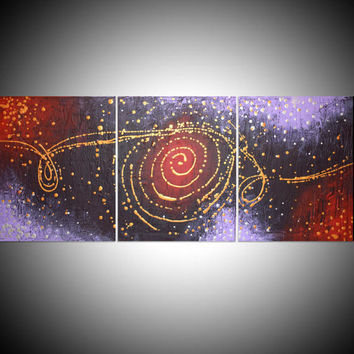 "abstract painting triptych large wall art contemporary painting canvas sculpture office oil landscape acrylic ""cosmic symphony"" original"
