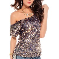 Summers Sexy Loose Sequins Top for Women