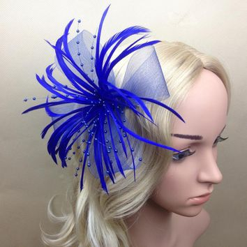 Women Curl Feather Fascinator Halloween Party Headband Clip Wedding Headpiece