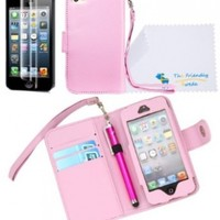 The Friendly Swede PU Leather Folio Wallet Case Cover for iPhone 5 + Matching Stylus + Screen Protector + Cleaning Cloth in Retail Packaging (Baby Pink)