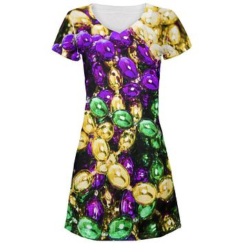 Mardi Gras Beads Juniors V-Neck Beach Cover-Up Dress