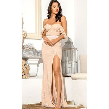 Give Me Love Beige Sequin Draped Off The Shoulder Straps Sweetheart Neck High Slit Fishtail Maxi Dress