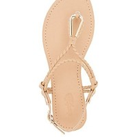 METAL TRIM SLINGBACK THONG SANDALS