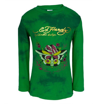 Ed Hardy - Butterfly Rose Girls Juvy Long Sleeve T-Shirt