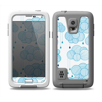 The White and Blue Raining Yarn Clouds Skin Samsung Galaxy S5 frē LifeProof Case