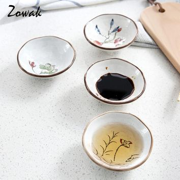 Porcelain Sauce Dish Dipping Sauce Plate Sushi Soy Plate Ceramic Dessert Snack Wasabi Bowl Handpainted Flower Dinnerware Tool