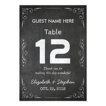 Chic Wedding Seating Place Table Number Chalkboard Card