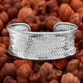 Concave Woven Sterling Silver Cuff Bracelet