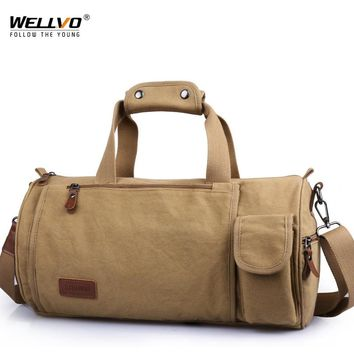 Men Canvas Travel Bag Carry on Luggage Duffel Bag Large Solid Tote Multi pockets Weekend Crossbody Portable Bag Overnight XA84WC