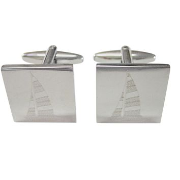 Silver Toned Etched Nautical Sail Boat Cufflinks