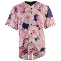 Pink Roses Button Up Baseball Jersey