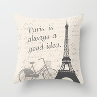 Beige Paris Throw Pillow by C Designz
