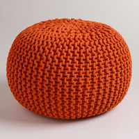 Jafra Orange Knitted Pouf - World Market