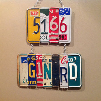 Address Sign METAL SIGN - Personalized - Recycled - License Plate Wall Hanging Gift Wedding Gift Housewarming Gift