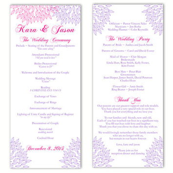 "Wedding Program Template DIY Editable Text Word File Download Program Purple Program Pink Floral Program Printable Wedding Program 4""x9.25"""