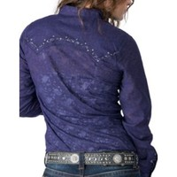 Rock 47 by Wrangler Women's Purple & Black Print Long Sleeve Western Shirt