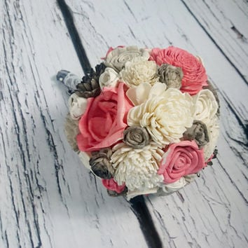 Small ivory grey and coral wedding BOUQUET sola Flowers, satin Handle, Flower girl, Bridesmaids, roses vintage custom small toss