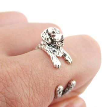 3D Golden Retriever Shaped Animal Wrap Ring in Silver | Sizes 4 to 9