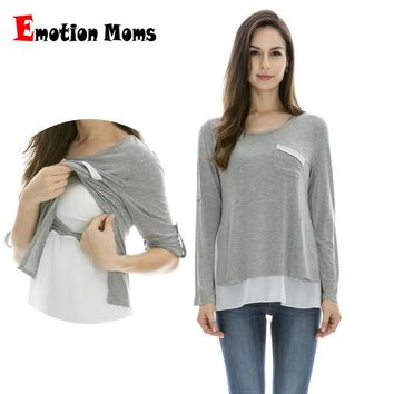 Emotion Moms Maternity Clothes Long sleeve Maternity tops Nursing Top pregnancy Clothes for Pregnant Women breastfeeding T-shirt