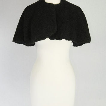 Vintage 1950s Black Lambswool Capelet Evening Holiday Cape Stole