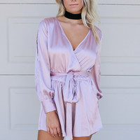 Night Out Mauve Long Sleeve Relaxed Fit Romper