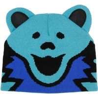 Grateful Dead Men's Blue Bear Beanie Blue