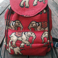 Red Elephant Tribal Bag Boho Native Design Bagpack Ethnic Rucksack Hippie Folk Gypsy Handwoven Handmade Thai Tapestry Beach bag Purse Hip