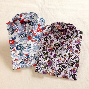 Dioufond Vintage Floral Print Women Blouse Casual Long Sleeve Flower Lady Top Shirt Fashion New Turn-down Collar Plus Size 5XL