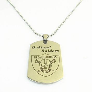Fashion Stainless Steel Sport Oakland Raiders Football Team Logo Dog Tag Necklace Pendants For Women and Men Fans Gifts 3pcs/lot
