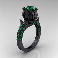 Classic 14K Black Gold 1.0 Ct Emerald Solitaire Wedding Ring R410-14KBGEM