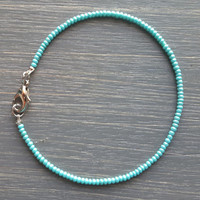 Sweet + Simple Seed Bead Friendship Bracelet // Sky Blue // Customizable //