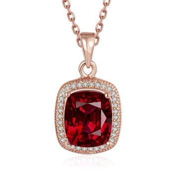 Rose Gold Plated Ruby Gem Pendant Necklace