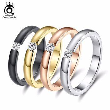 ORSA JEWELS New Fashion 316L Stainless Steel Rings Shining Crystal Men Women Wedding Engagement Rings 4 Colors Available OTR48